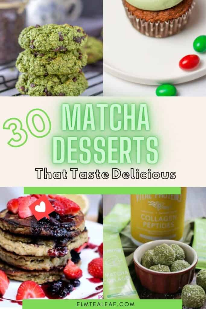 Matcha Desserts including cookies, cupcakes, bowls, and protein balls