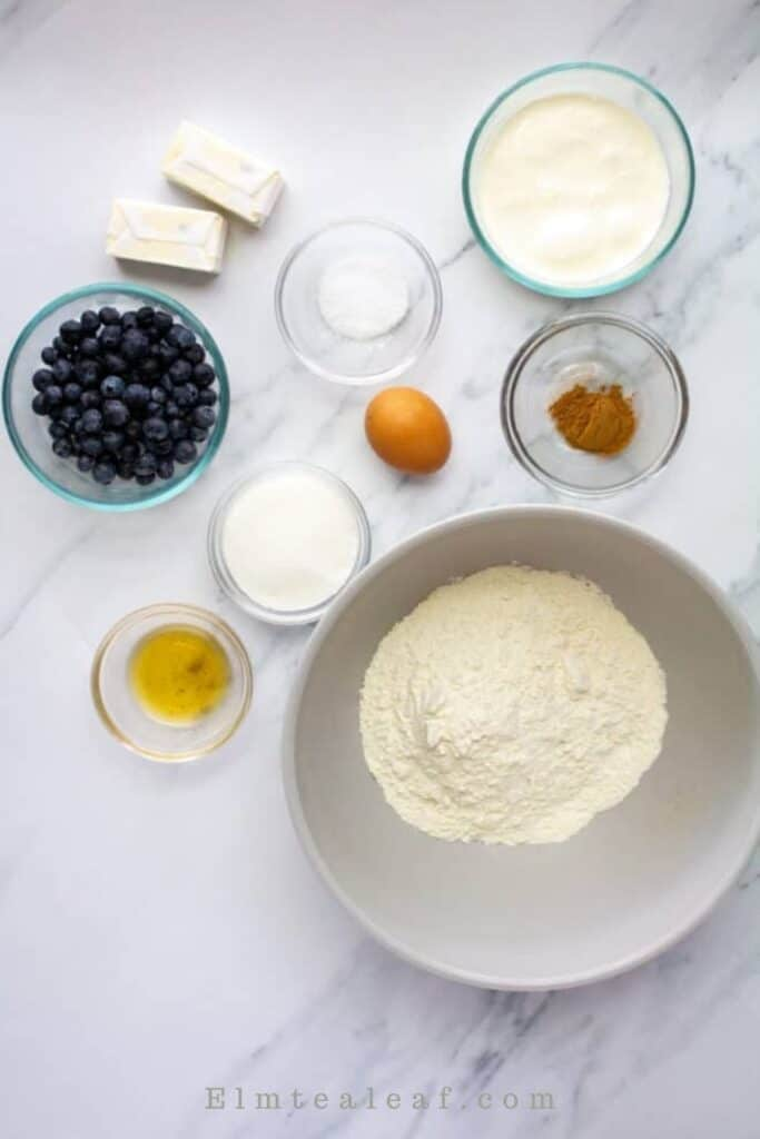 Ingredients for Blueberry Scones