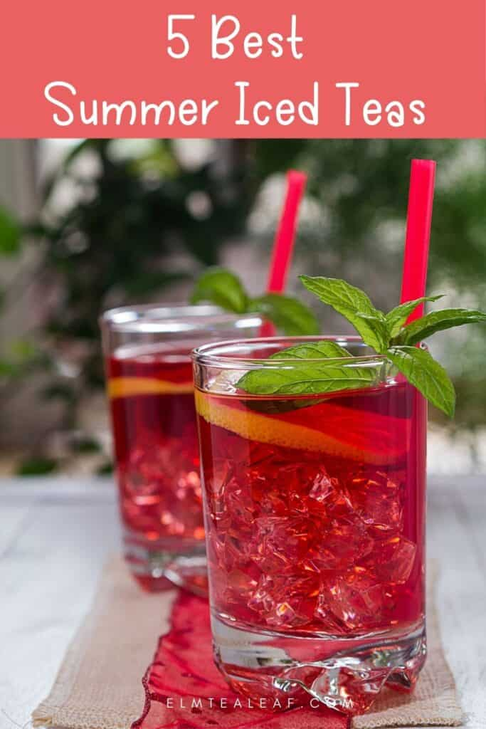 2 Glasses of iced tea with mint leaves