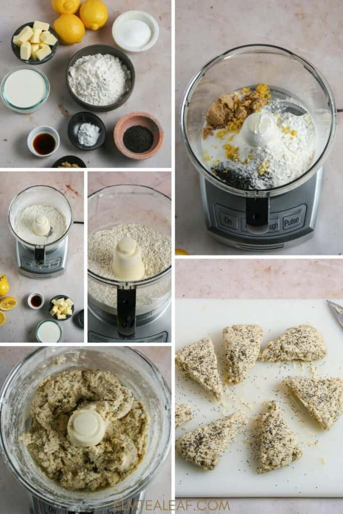 An image of several steps in baking scones.
